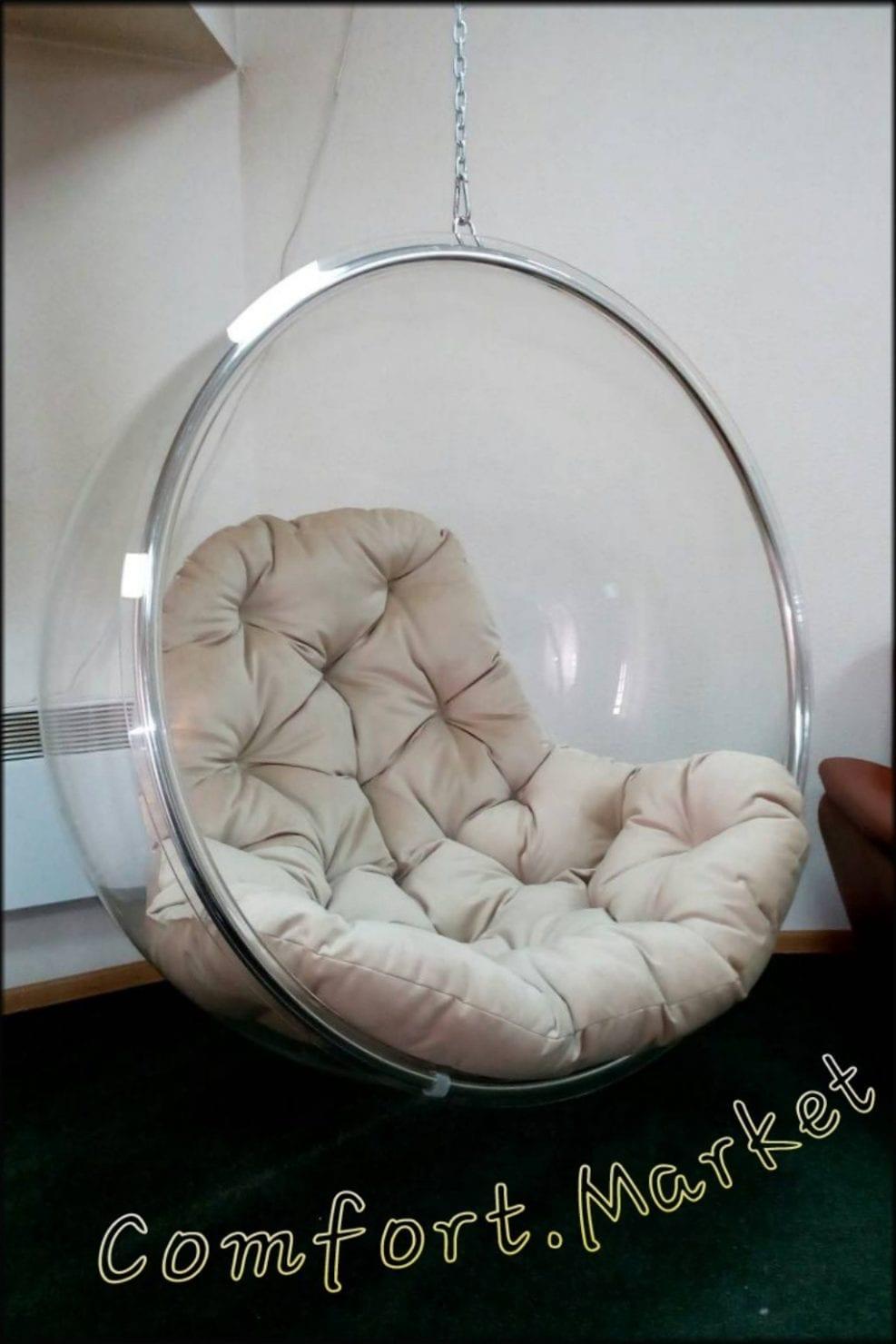 Дизайнерское прозрачное подвесное кресло Bubble chair с мягкой подушкой