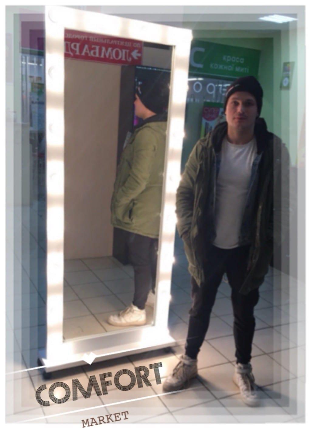 Зеркало с подсветкой в полный человеческий рост - для магазина, торгового зала.