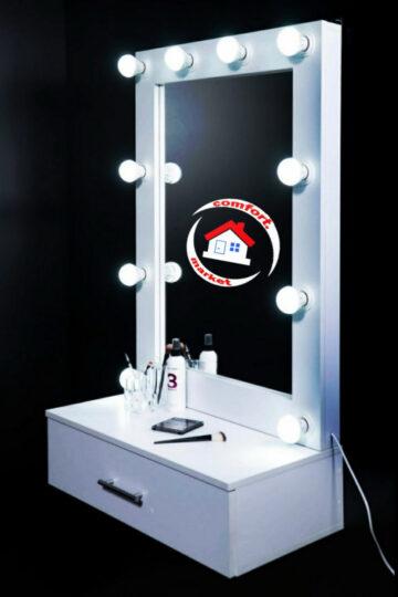 Зеркало с подсветкой LED лампами для макияжа на стену, с полочкой с выдвижным ящиком для косметики - заказать в Украине.