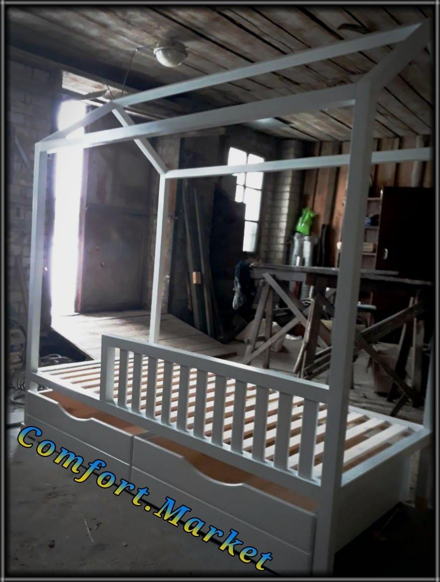 """Кровать чердак (или кровать домик) из натурального дерева с бортиками и выдвижными ящиками - мебель от производителя в Украине, """"Comfort Market""""."""