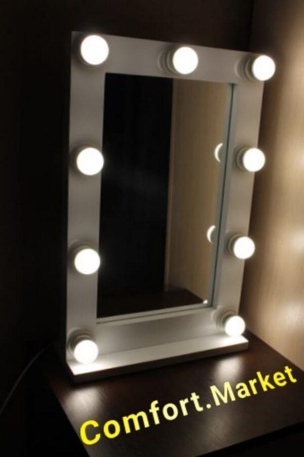 Зеркало с подсветкой лампочками для макияжа - заказать в магазине Комфорт Маркет