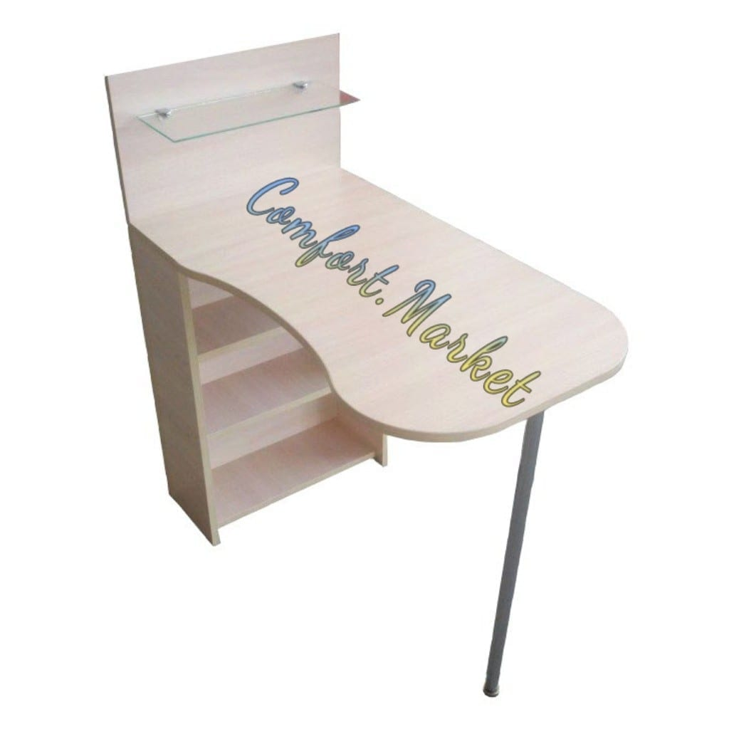 Раскладной стол для маникюра Компактный с полочкой для лаков, молочный дуб