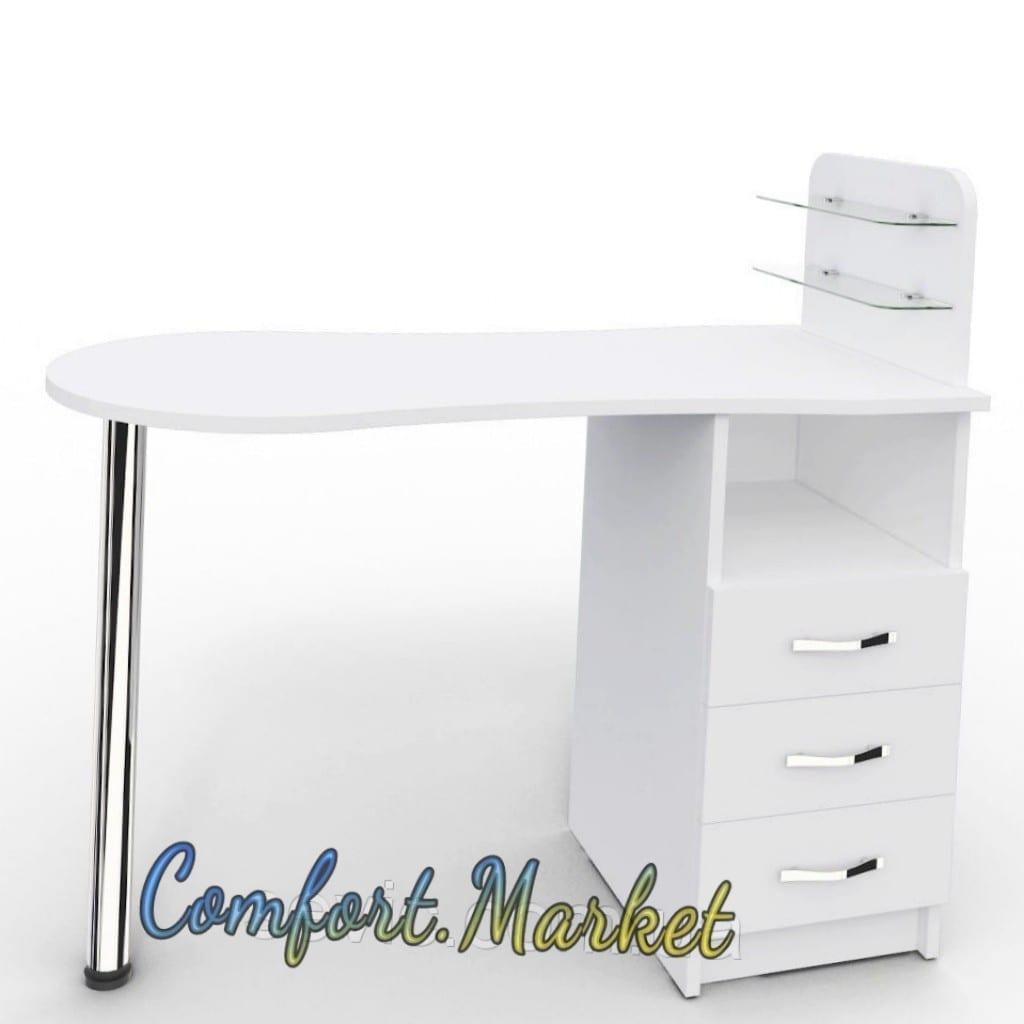 Маникюрный стол Профессиональный складной с выдвижными ящиками, белый.