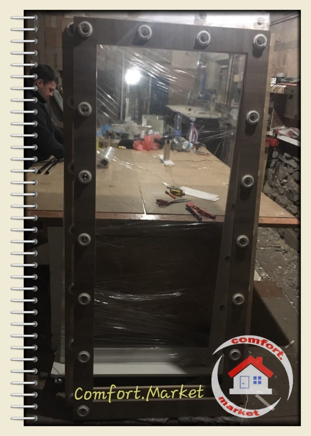 Зеркала во весь рост 185*90 см с подсветкой и колесиками, цвет коричневый и белый - купить в Киеве по цене производителя