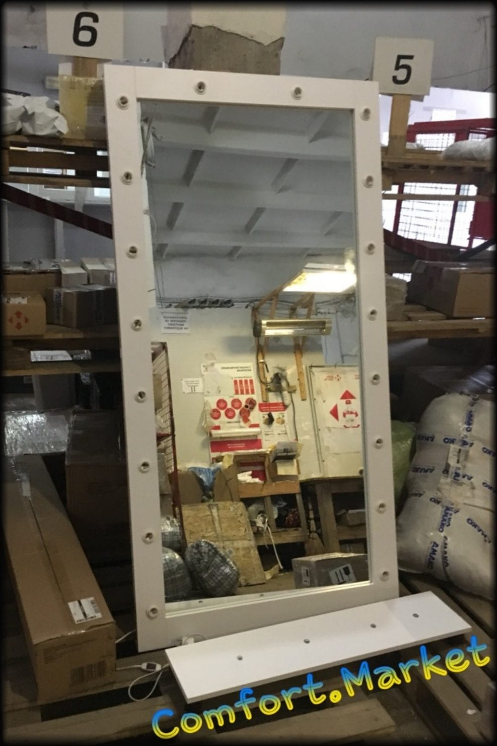 Зеркало с подставкой и подсветкой 85*190 см из ЛДСП белое