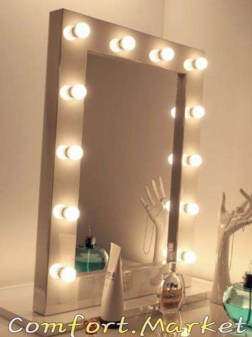 Зеркало для макияжа - универсальное, вертикальное, с 12 лампочками, размер 65*82 см