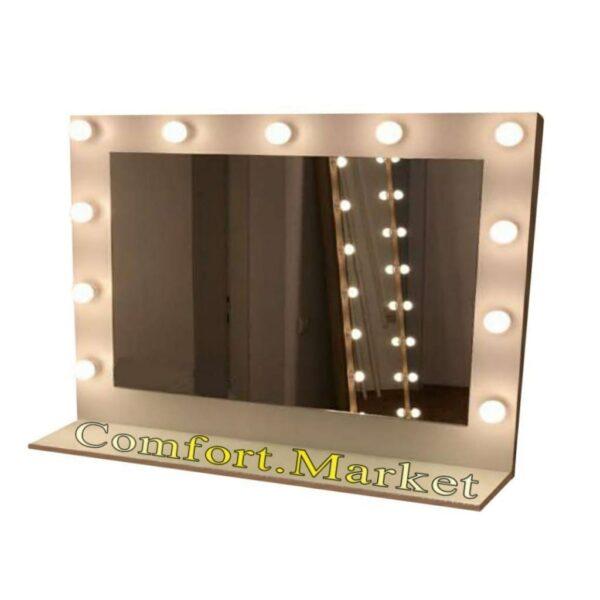 Купить в Украине зеркало с подсветкой лампами 100*80 см - Comfort Market
