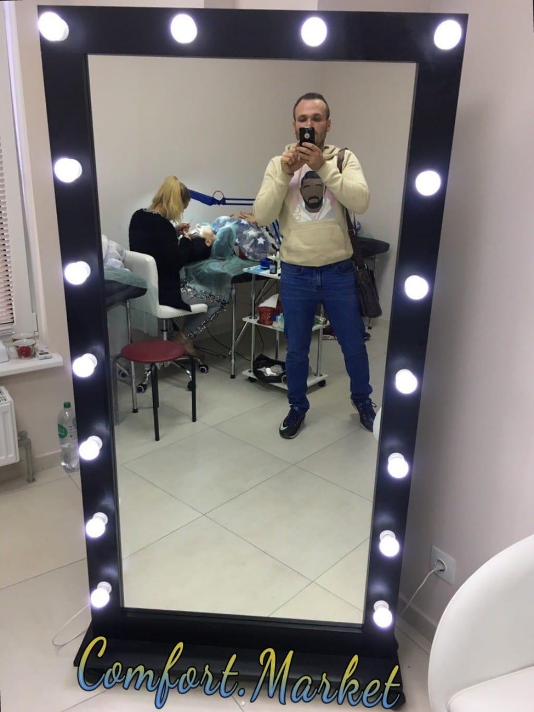 Зеркало для макияжа с подсветкой для комнаты, кабинета, салона красоты. Цвет черный. Фото Comfort Market
