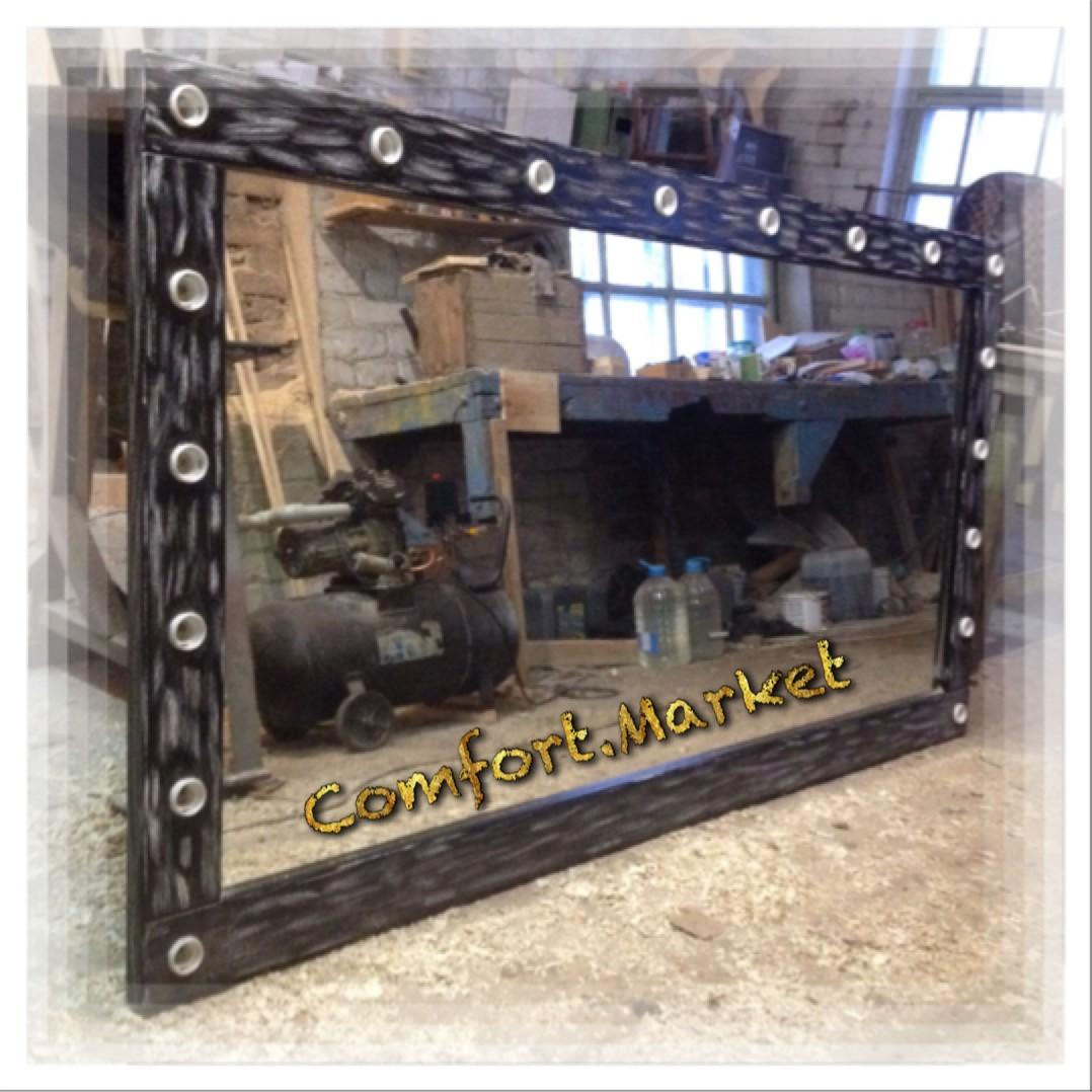 """Настенное зеркало для мастеров красоты, салонов - натуральное дерево """"под старину"""". Ширина 2 метра, высота 1 метр."""
