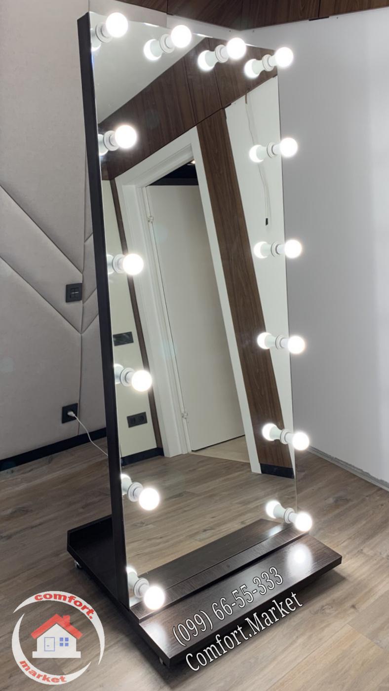 Напольное зеркало без рамы на колесах с лампочками