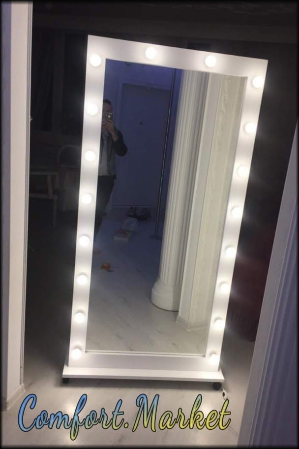 Зеркало во весь рост 190*85 см белое, с подсветкой 18 ламп