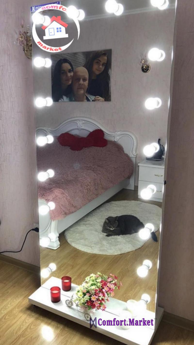Напольное зеркало в полный рост с подсветкой без рамы