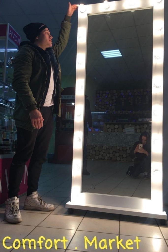 Зеркало в полный рост с подсветкой - напольное с подставкой
