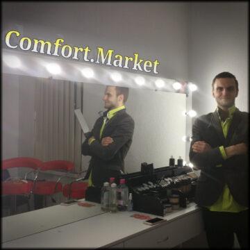 Настенное зеркало с подсветкой лампочками 200*100 см - мебель для салона, 2 мастеров красоты
