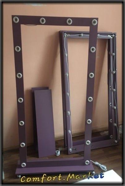 Фиолетовое гламурное зеркало в полный рост человека с лампочками - мебель для салона красоты в Киеве